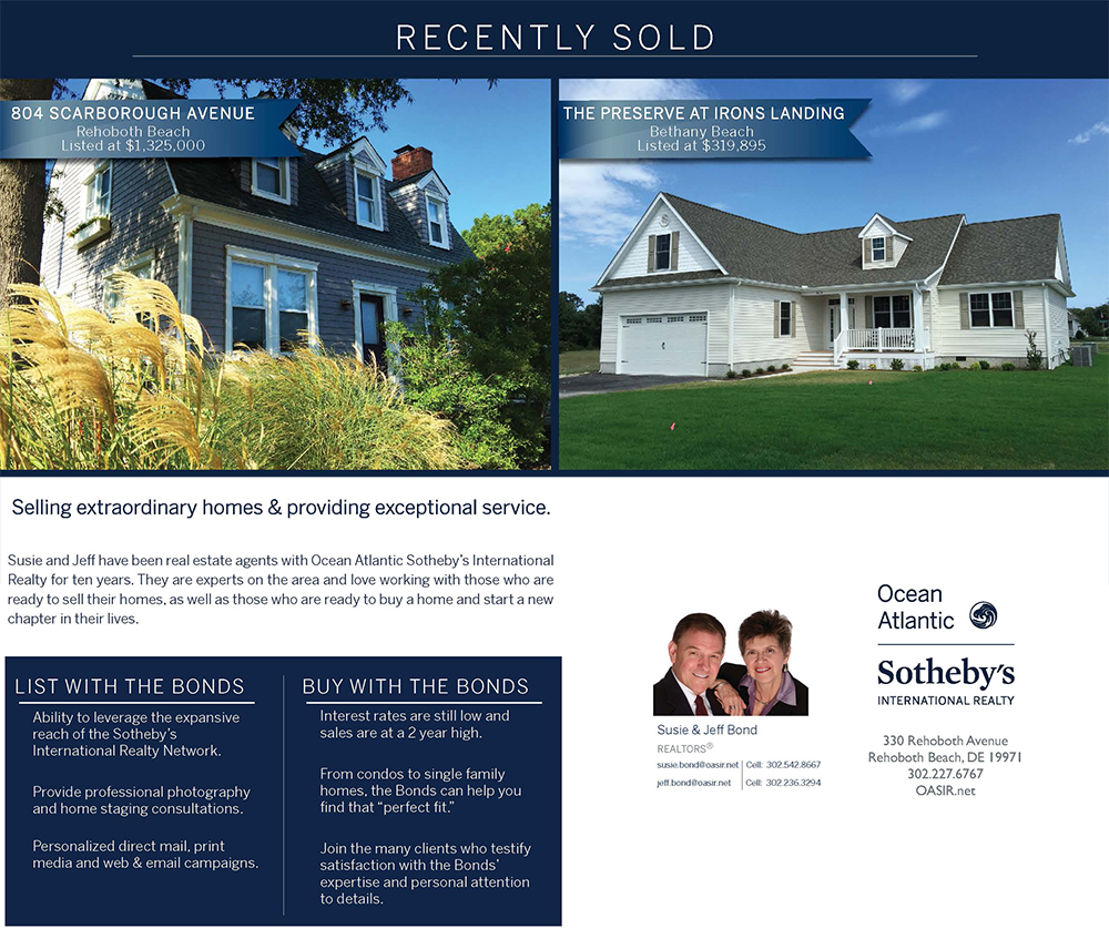 Susie and Jeff Bond celebrate 2 recent real estate sales in Rehoboth Beach and Bethany Beach, Delaware