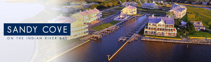 Sandy Cove, Bethany Beach, Delaware - A waterfront community boasting a marina, pool, beach, fishing pier, and easy access to the Indian River Bay and Atlantic Ocean!