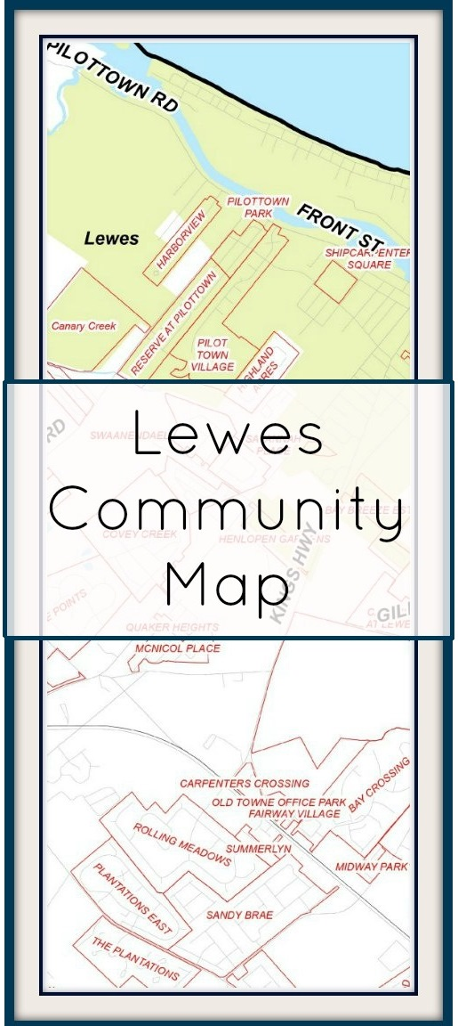 Community Map of Lewes, Delaware - homes listed with Ocean Atlantic Sotheby